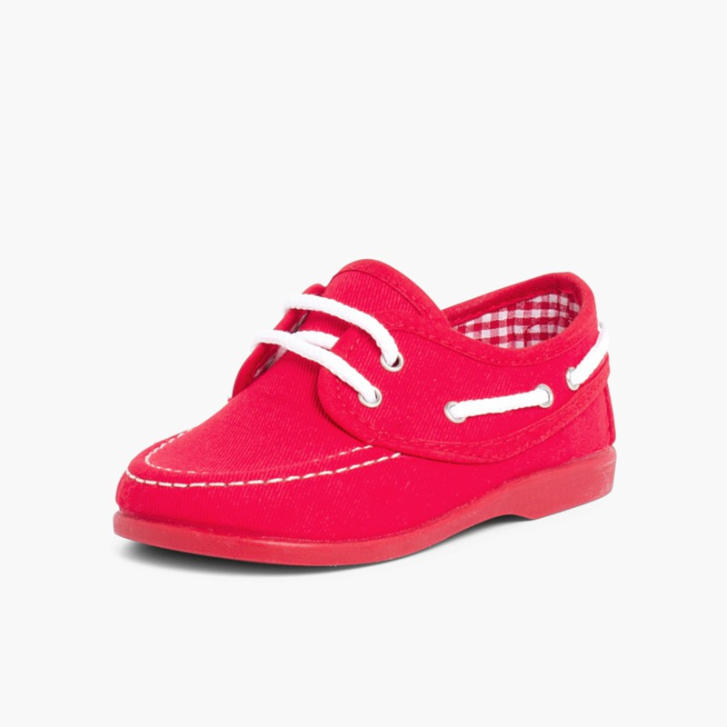 Boys Lace-Up Canvas Boat Shoes Red