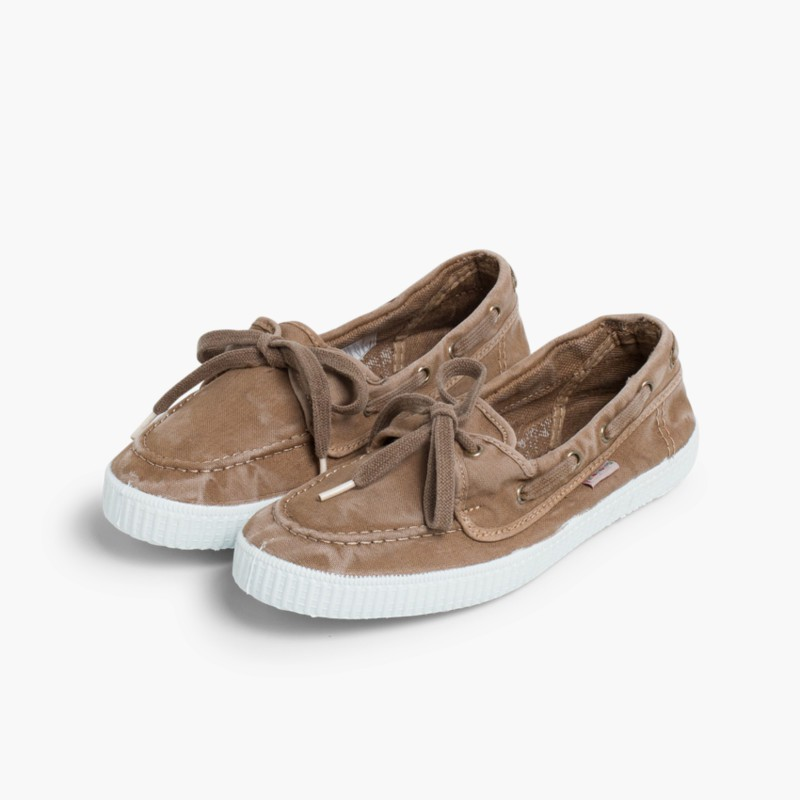 Canvas Boat Shoes with White Soles Beige
