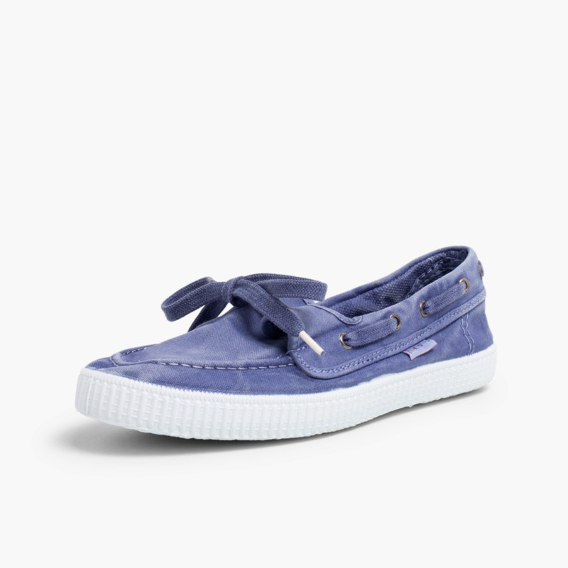 Canvas Boat Shoes with White Soles Sky Blue