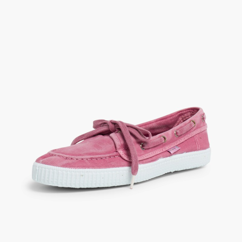 Canvas Boat Shoes with White Soles Pink