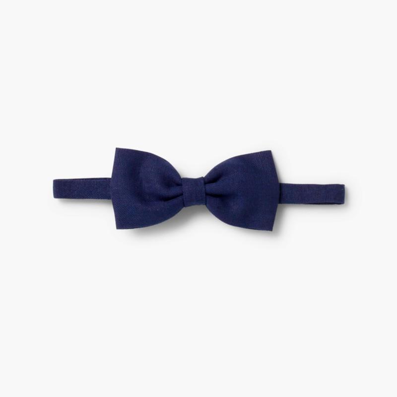 Boys Linen bow tie Navy Blue