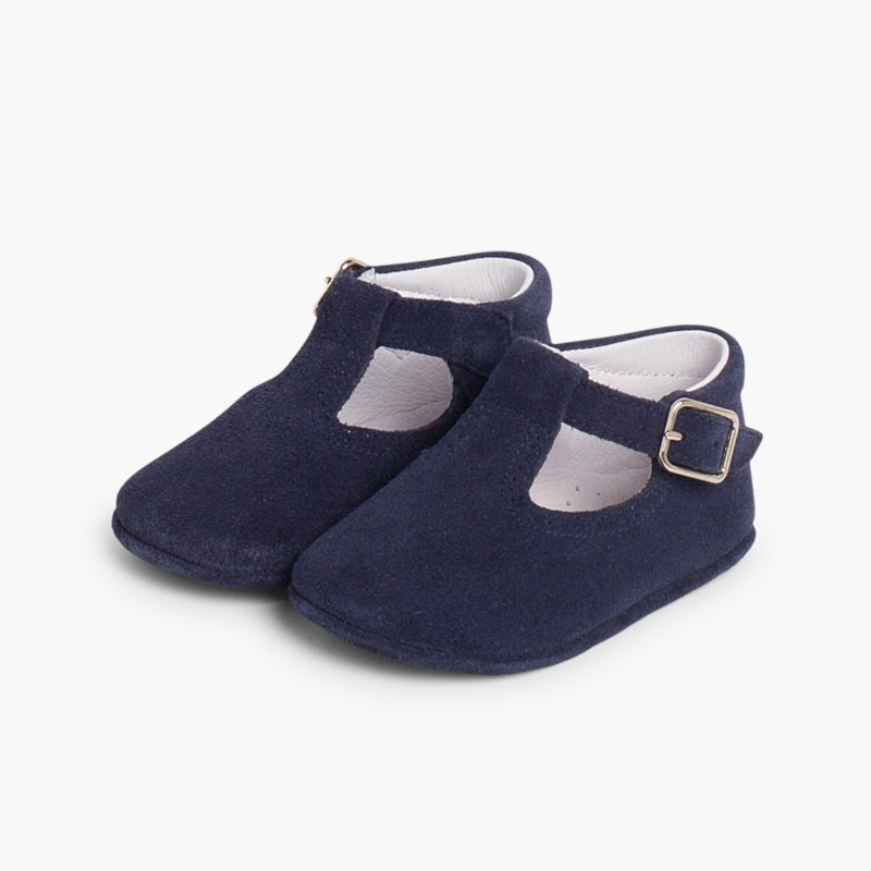 Split Leather T-Strap Baby Shoes Navy