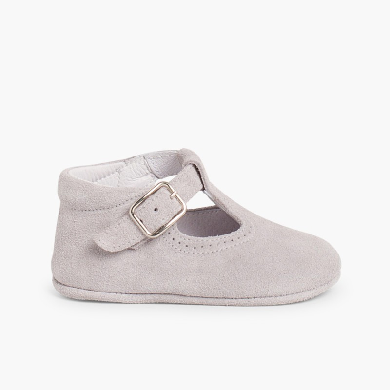 Split Leather T-Strap Baby Shoes Grey