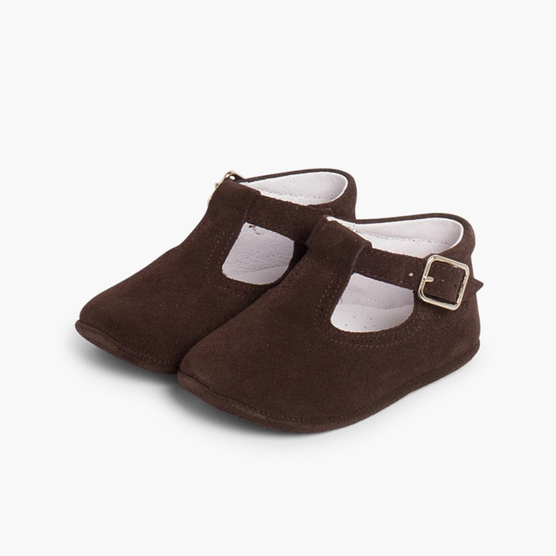 Split Leather T-Strap Baby Shoes Brown