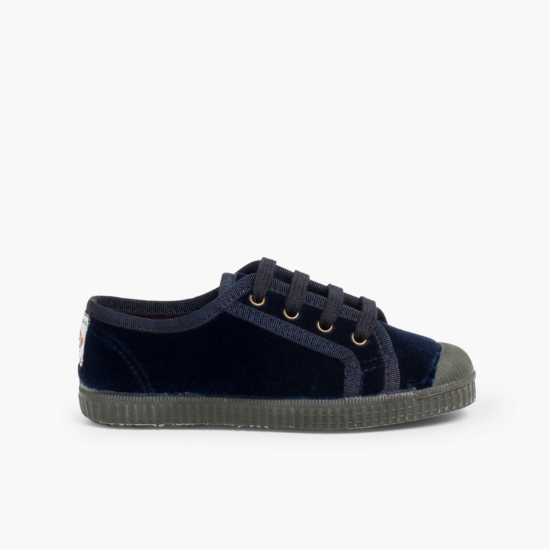 Velvet Lace-up Trainers Navy Blue