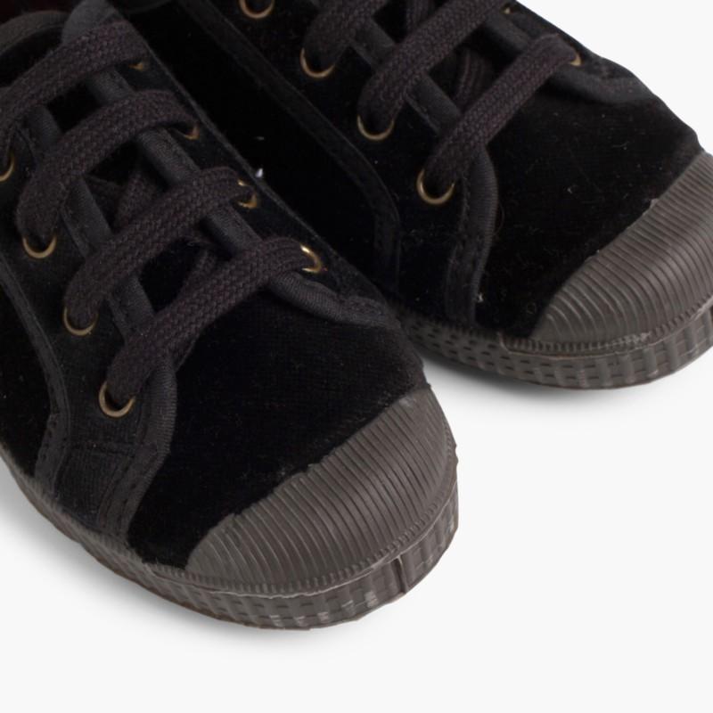 Velvet Lace-up Trainers Black
