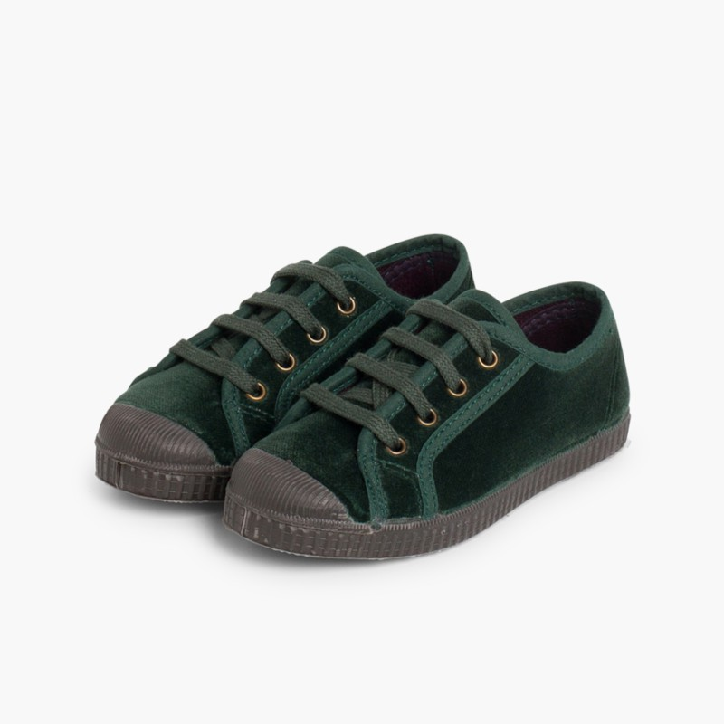 Velvet Lace-up Trainers Green