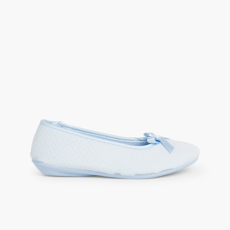 Ballerina Slippers with bow Sky Blue