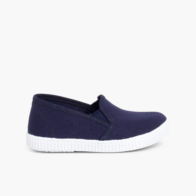 Canvas plimsoll with elastic Navy Blue