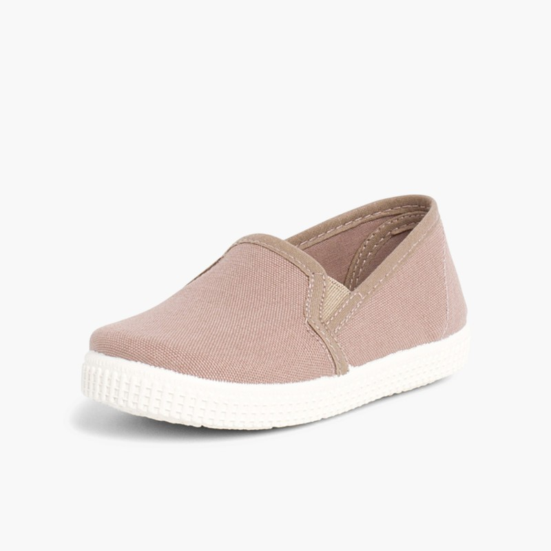 Canvas plimsoll with elastic Light Brown