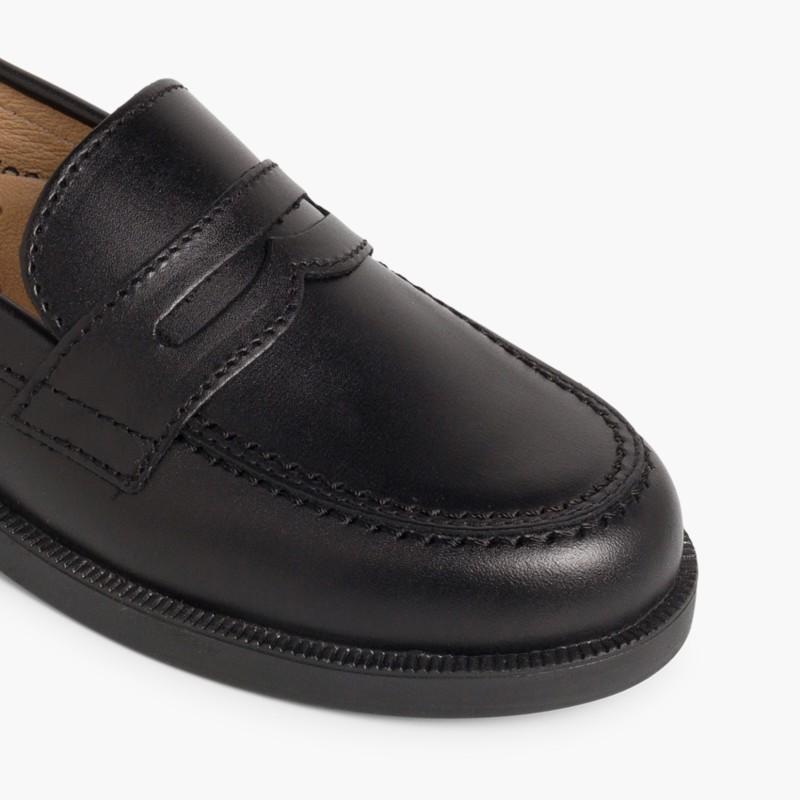 School Moccasins Black