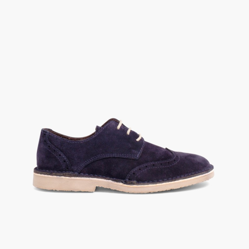 Suede brogues for boy Navy Blue