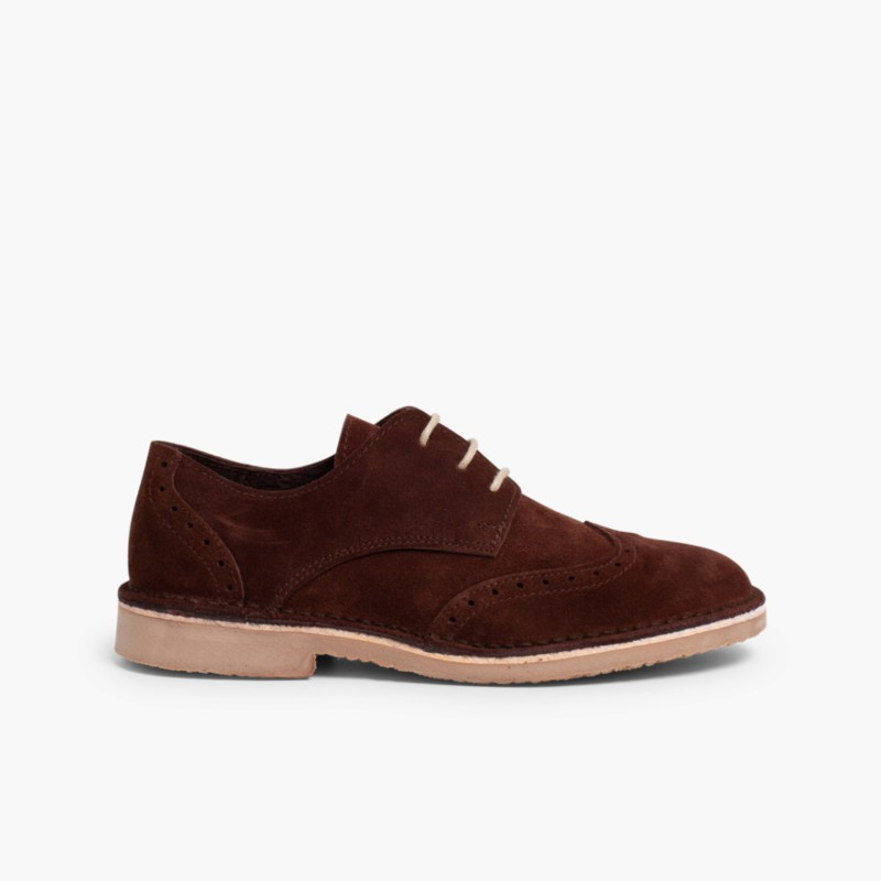 Suede brogues for boy Brown