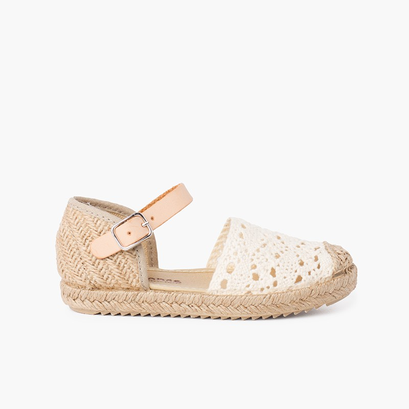 Girls macramé espadrille sandal with buckle