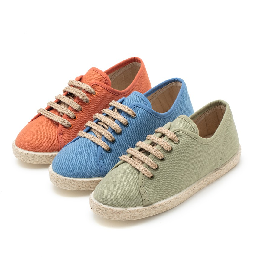 Espadrille style shoes with laces