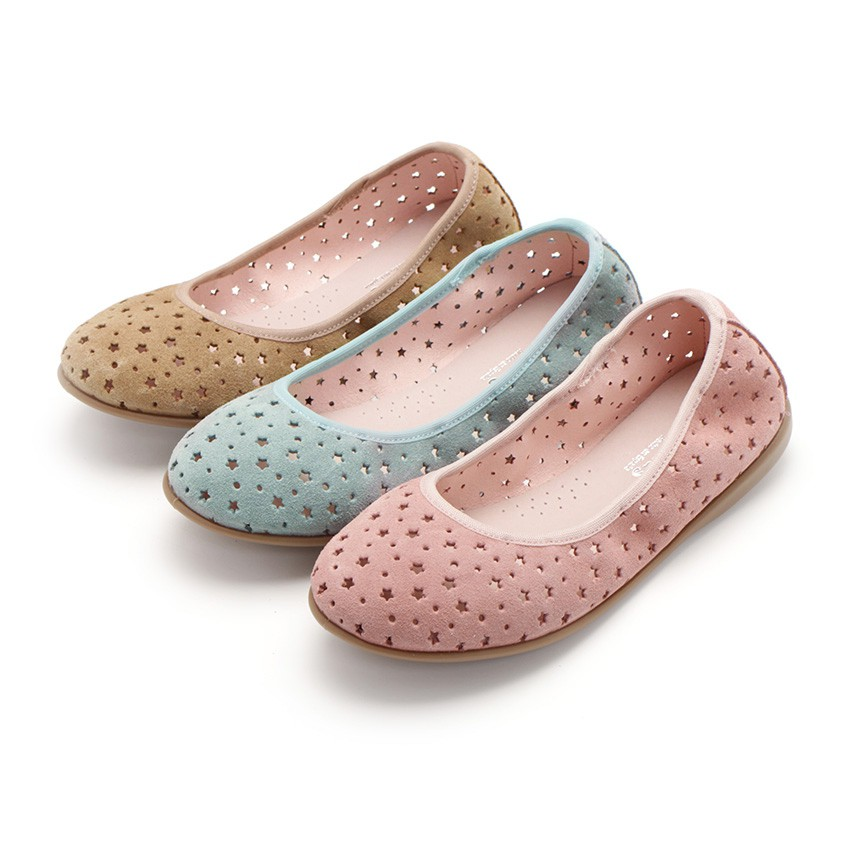 Suede Ballet Pumps With Elastic And Star Punch Hole Detail