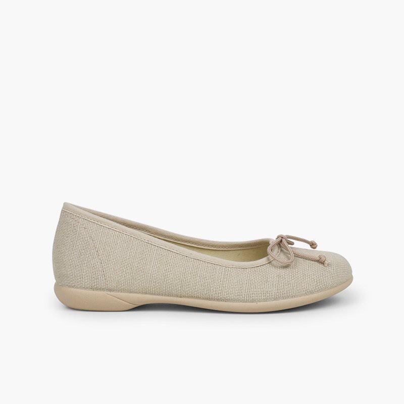 Linen Communion Ballet Flats for Girls