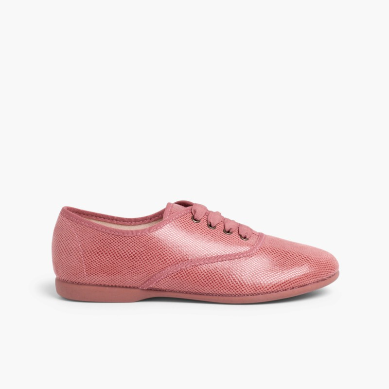 Girl´s and women´s snakeskin-type bluchers Pink