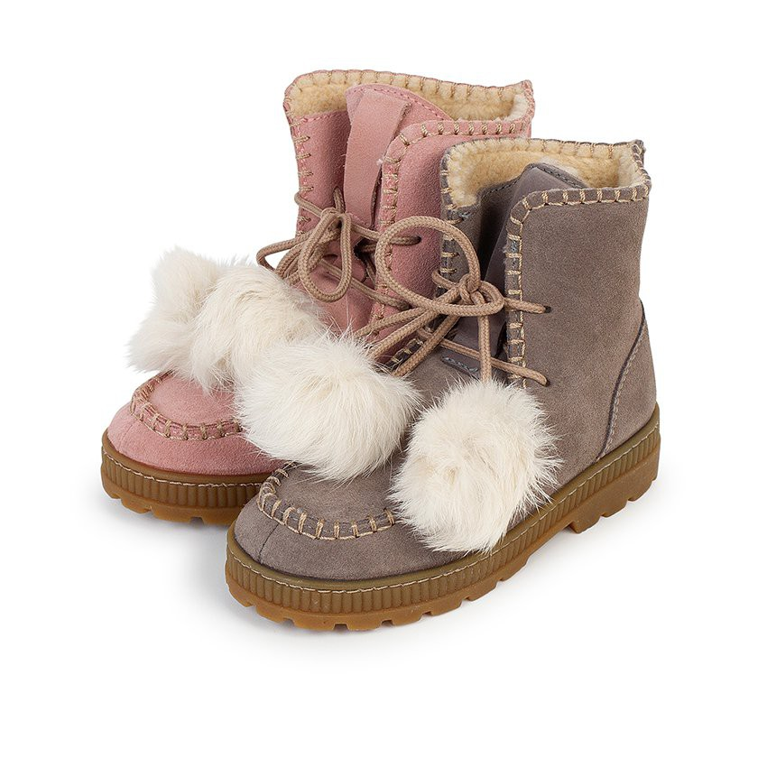 Boots with pompoms split leather girls