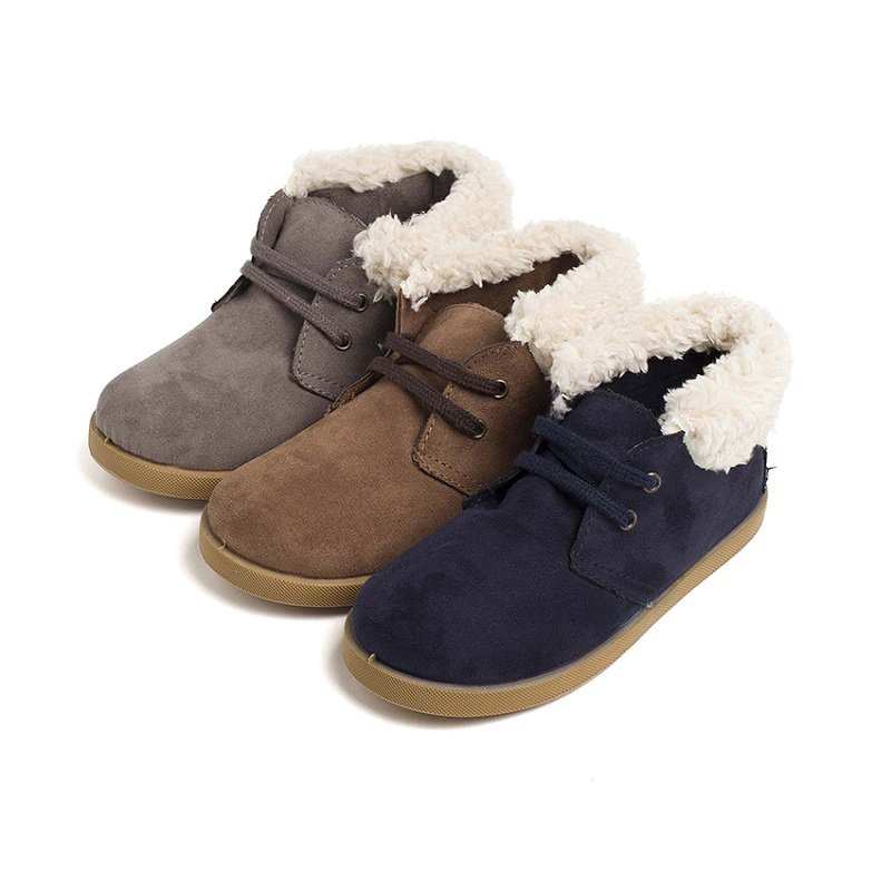 Faux Sheepskin Cuff Boots for Boys and Girls
