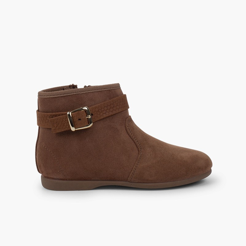 Zip buckle ankle boots