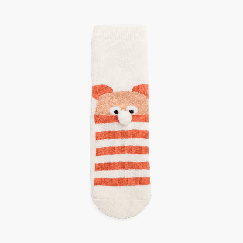 Bear pom pom terry slip resistant socks