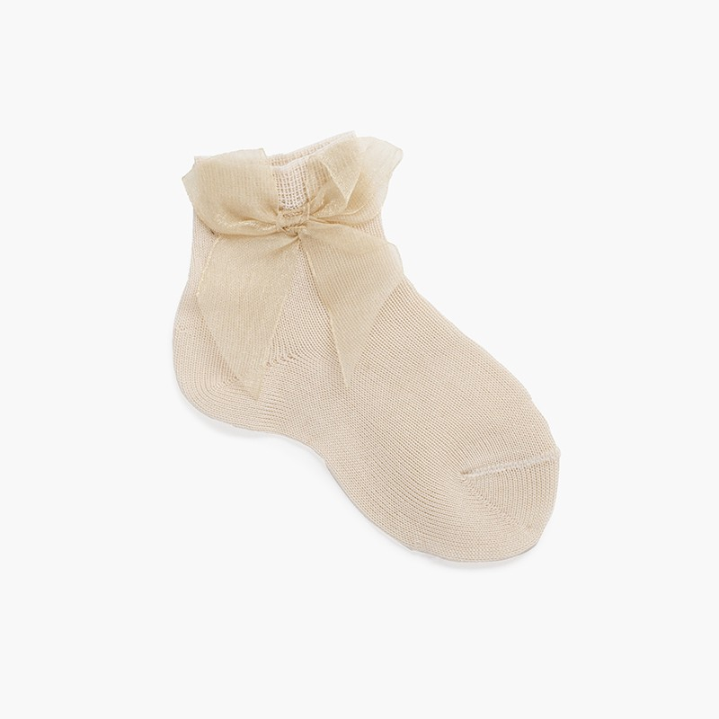 Plain short organza bow socks