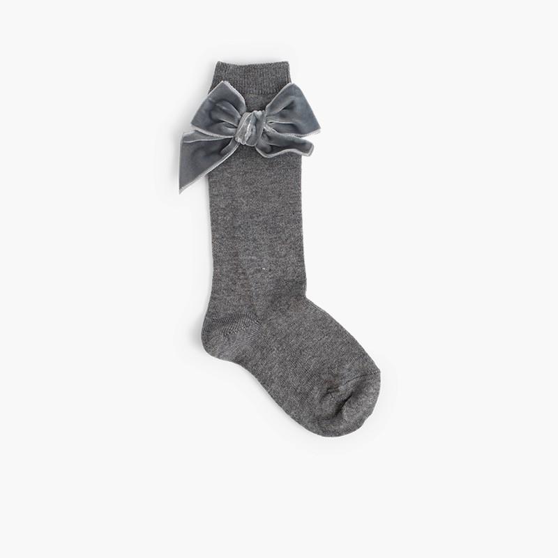 Children's socks with velvet bow