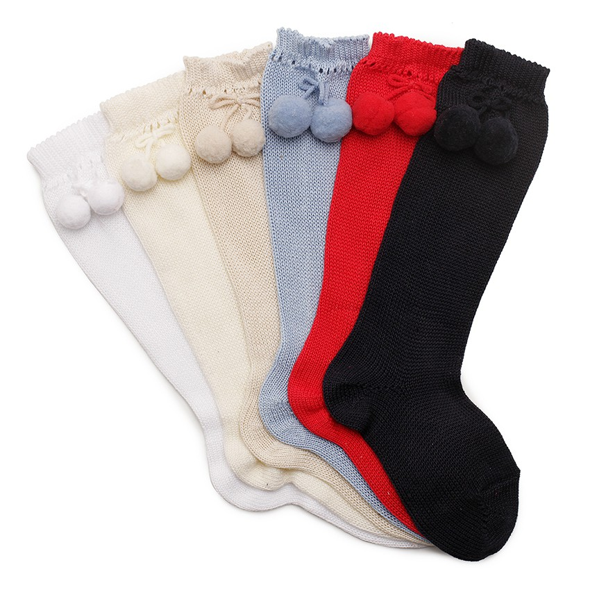 CONDOR Pointelle High Socks with Pompom