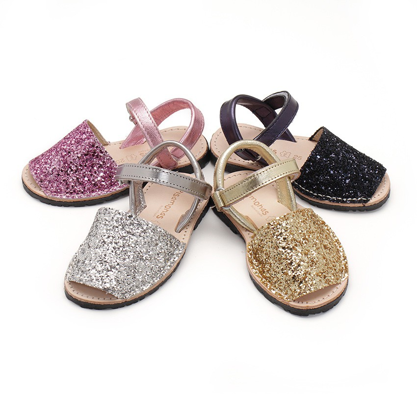 Glitter Menorcan Sandals with loop fasteners fastening