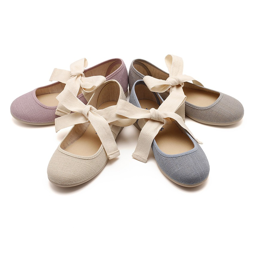 Angelito Linen Mary Janes With Beige Bow