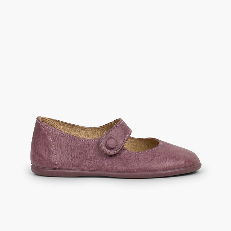 Girls' Leather Mary Janes with loop fasteners and Button
