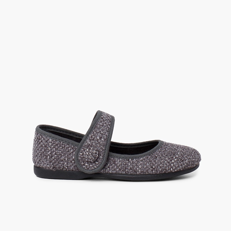 Tweed Mary Janes with strap closure