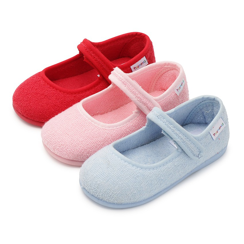 Girls Towelling Bouclé Mary Jane Slippers