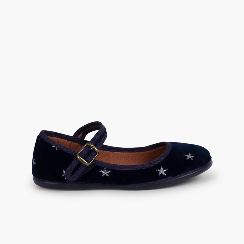 Girls' Velvet Low-Vamp Mary Janes Little Stars