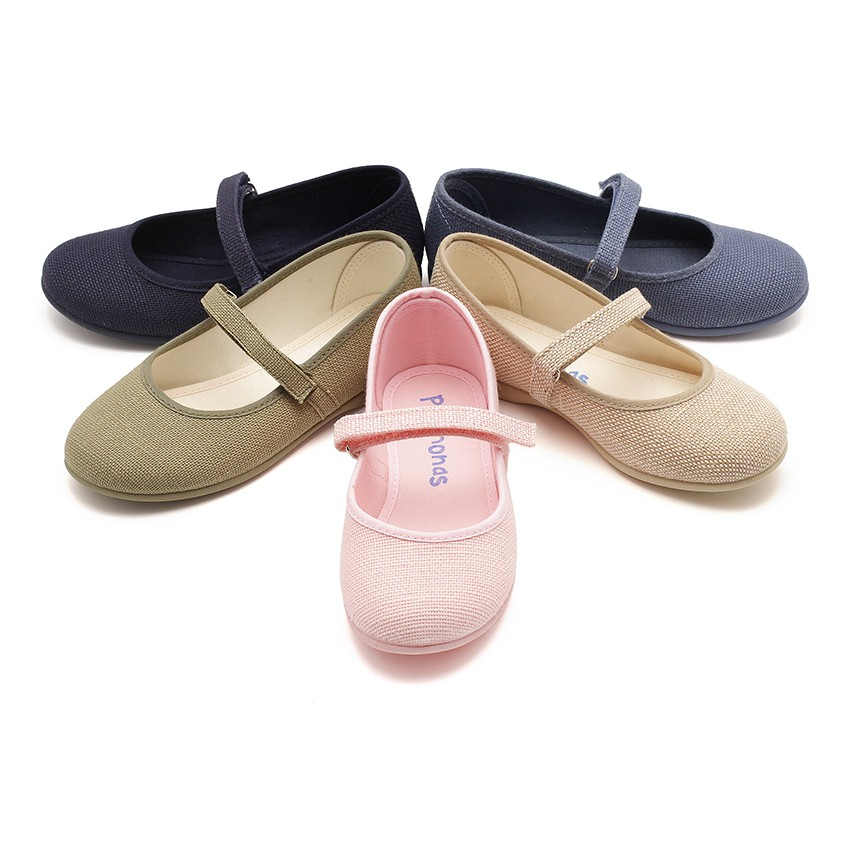 Girls Riptape Linen Mary Janes