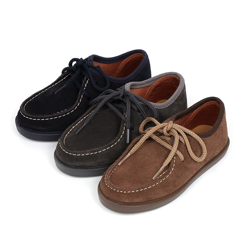 Suede deck shoes for children and adults