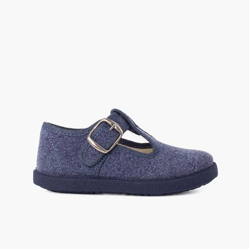 Casual T-Bar Shoes with Sport Sole same Tone