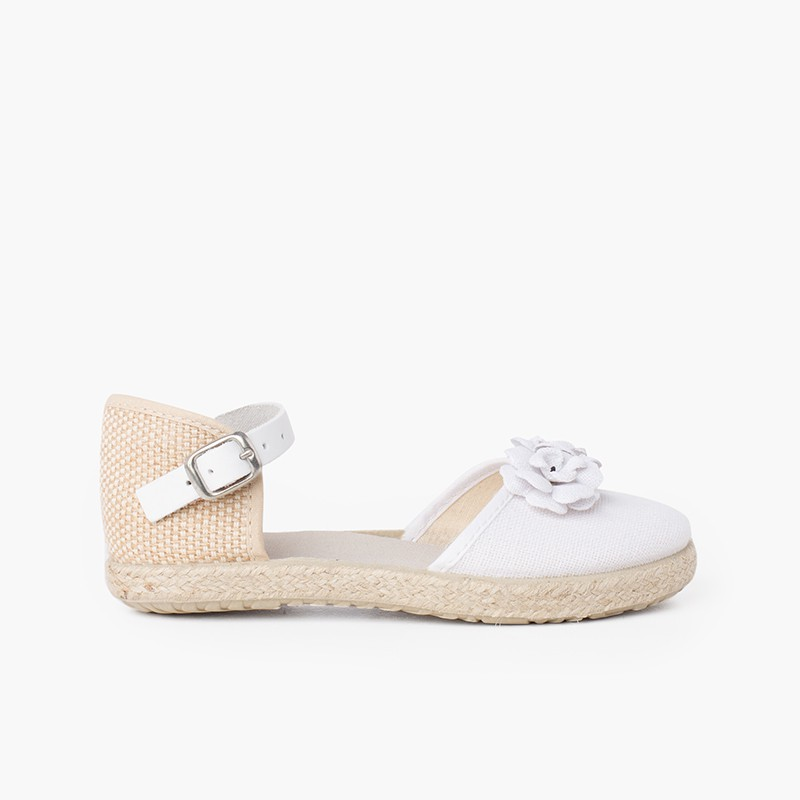 Flowers espadrille sandal with leather strap