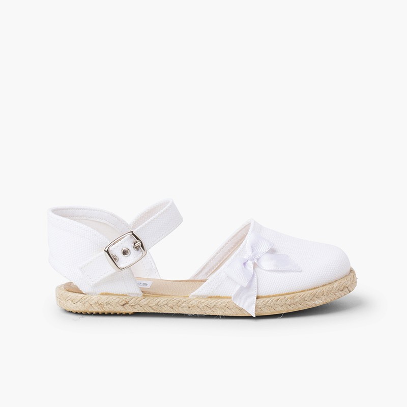 Espadrille Sandal with Buckle Closure and Bow