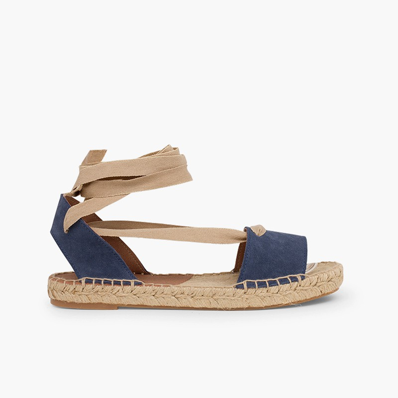 Suede and Esparto Sandals with Ribbons