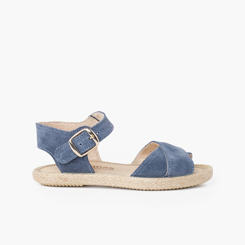 Suede Sandal with Crossed Straps and Jute Sole