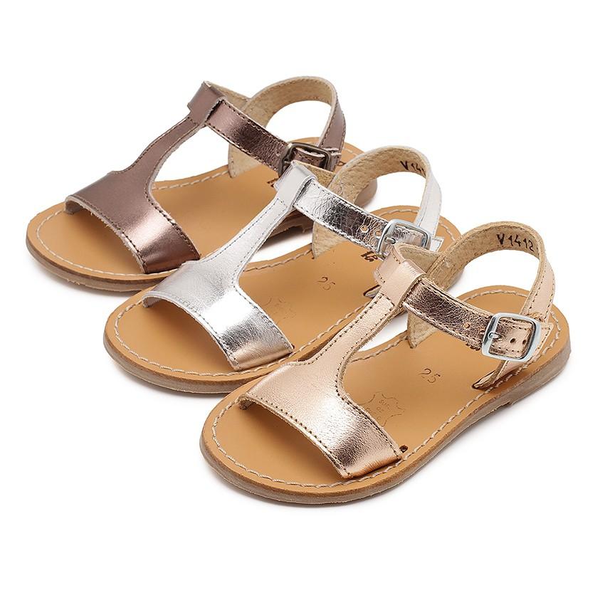 Metallic Flat Leather Sandals