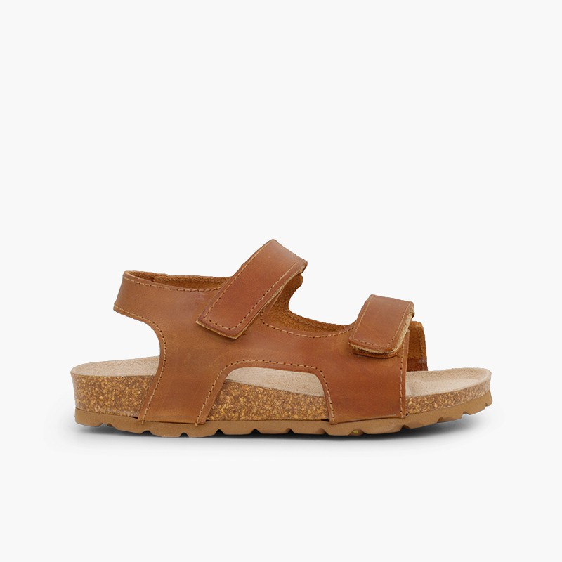 Eco leather sandals twin loop fasteners