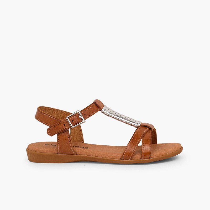 Sandals with Padded Insole and Silver Embellishment