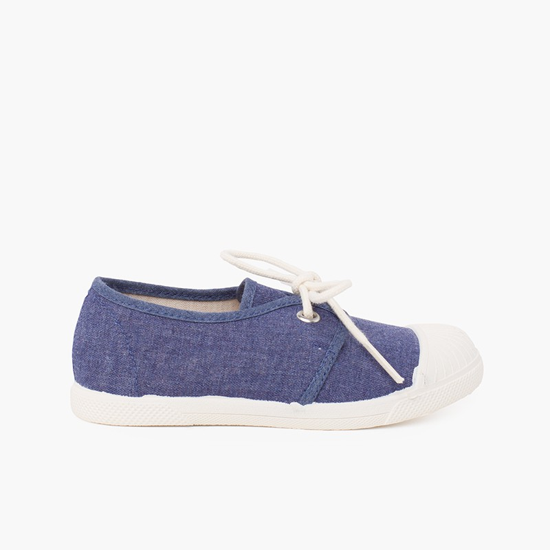 Canvas Casual Trainers with Rubber Toe Cap