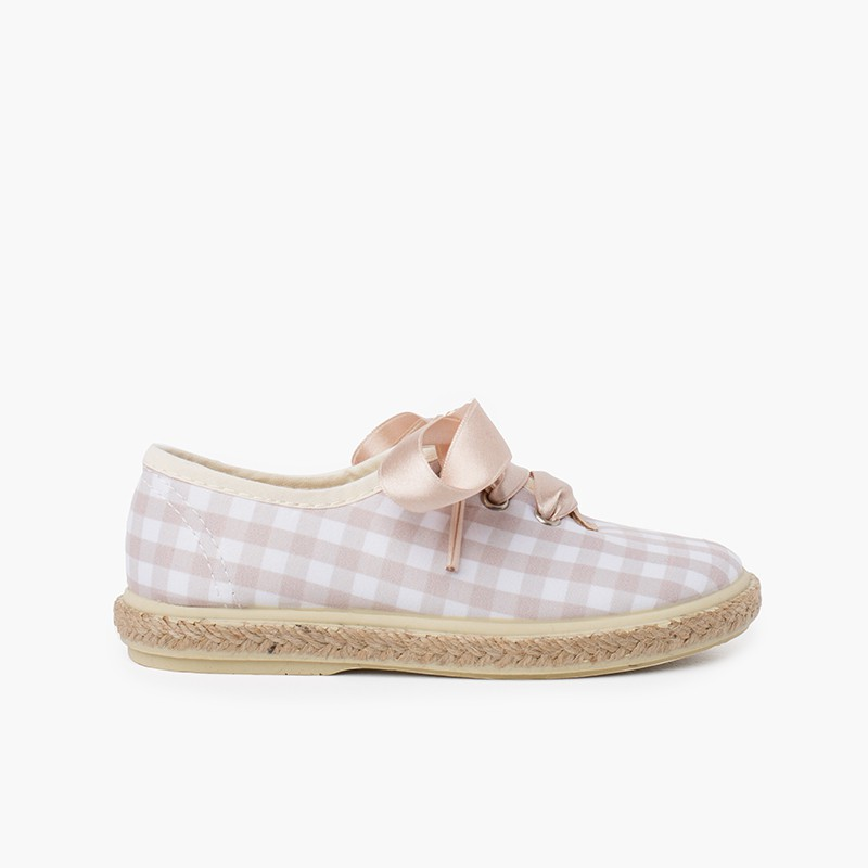Vichy Squares and Jute Trainers with Satin Laces