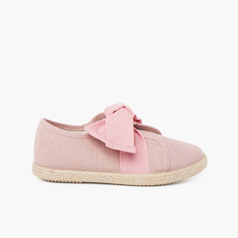 Linen Trainers with Bow and Jute Band