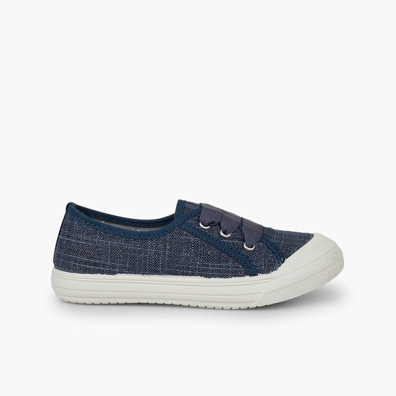 Girls' Glittery Linen Trainers