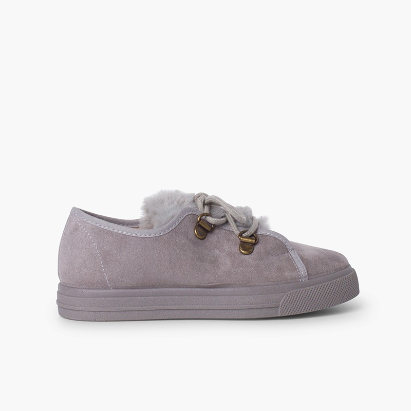 Girl's wide sole sneakers faux fur